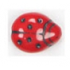 Glass Bead Ladybug 14x11mm Opaque Red/Black Painted Strung
